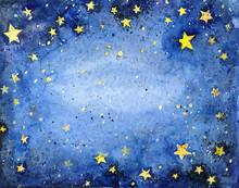 Hand Painted Watercolor Blue Sky With Bright Stars