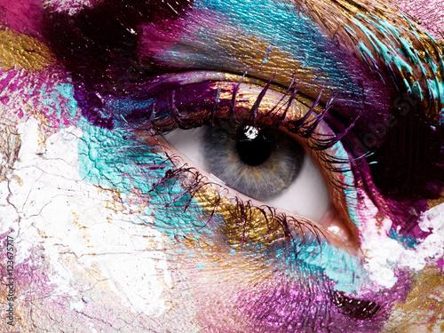Türaufkleber Makrofotografie Beauty, cosmetics and makeup. Bright creative make-up