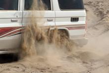 Offroad Car Stuck In Sand, Ethiopia, African Desert