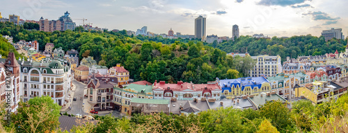 In de dag Kiev Views of modern and ancient buildings from the Castle hill or Zamkova Hora in Kiev, Ukraine. Castle hill is a historical landmark in the center of the city.
