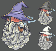Wizard Portrait 2 / Portrait Of Wizard Smoking Pipe In 3 Color Versions.