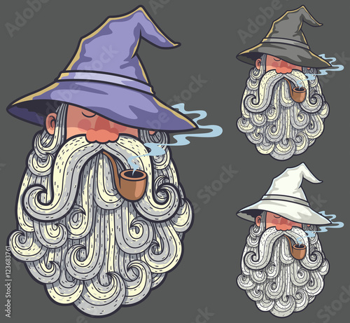 Wizard Portrait 2 / Portrait of wizard smoking pipe in 3 color versions Wallpaper Mural