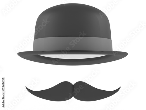 1d613d605cb Bowler hat and mustaches on a white background. 3D rendering - Buy ...
