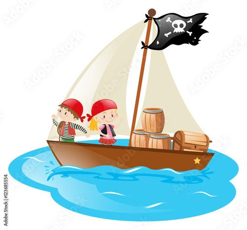 Pirates sailing at sea
