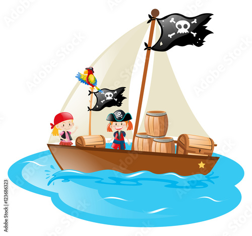 Two pirates sailing the boat