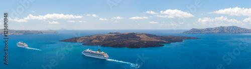 Fototapeta Nea Kameni volcanic island in Santorini Greece obraz