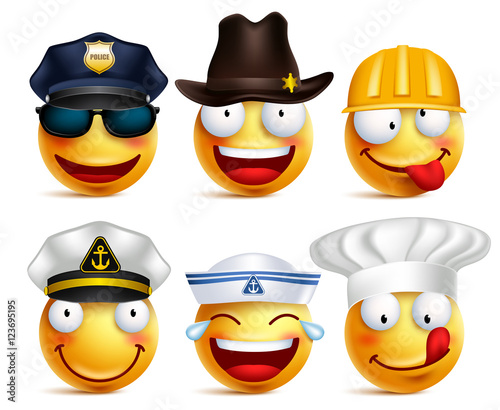 115c04faf7d Smiley face vector set of professions with hats like police ...