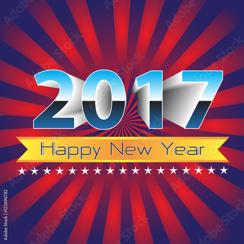 happy new year 2017 gold label banner on red blue zoom background vector illustration