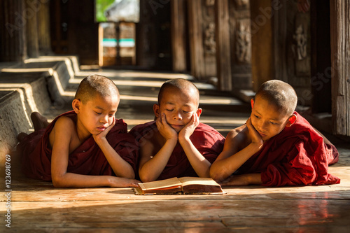 Photographie Novice monks are reading book