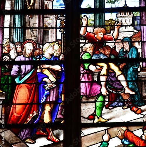 Spoed Fotobehang Stained Bernay, France - august 11 2016 : Sainte Croix church
