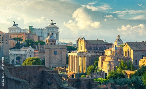 scenic view on old part of Rome at sunset, Italy Wallpaper Mural