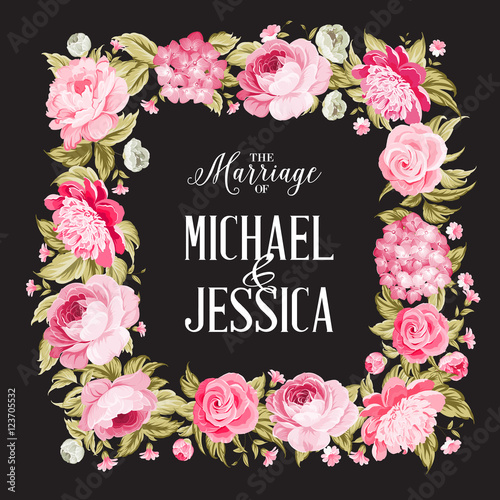 The Marriage Card Wedding Invitation Card Template Border Of Spring Flowers In Vintage Style Marriage Invitation Card With Custom Sign And Flower Frame Over Black Background Vector Illustration Buy This Stock,Beautiful Master Bedroom Designs For Girls