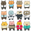 vector set of cat wearing clothes
