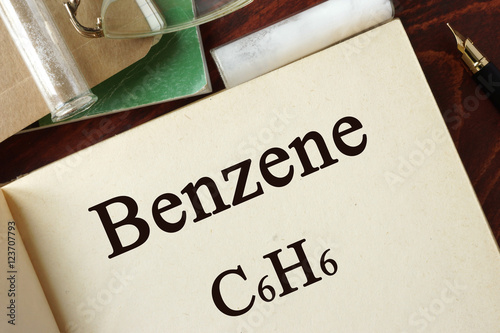 Benzene written on a page. Chemistry concept. Wallpaper Mural