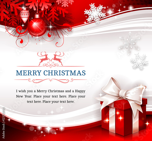 Christmas Greeting Card Design With Present, Ornaments