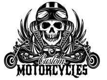 Vector Monochrome Image With Skulls, Motorcycles, Wings, Engine