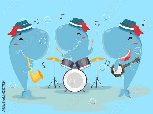 Fényképezés Mascot Whale Music Band