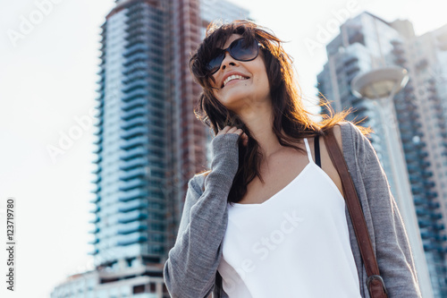 Young Beautiful Woman Walking in Brooklyn . New York City US