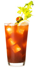 Traditional Bloody Mary Cocktail  With Celery Lemon And Olive Garnish Isolated On White Background