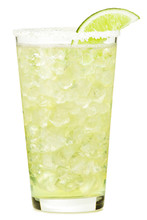 Tall Tequila Margarita Alcoholic Cocktail With Salt On Rim Lime Garnish Isolated On White Background