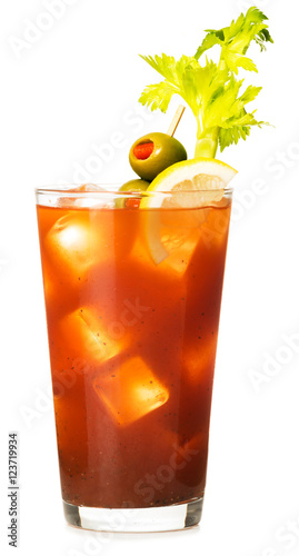 Bloody Mary Cocktail on White Fototapet