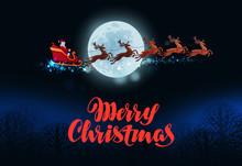 Merry Christmas Greeting Card. Santa Claus Flies In Sleigh Pulled By Reindeer