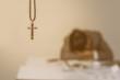 cross symbol on blurred Man are desperate,religion concept