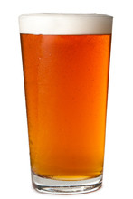 Foamy Head Pint Glass Of Amber Beer Ale Lager Isolated On White Background