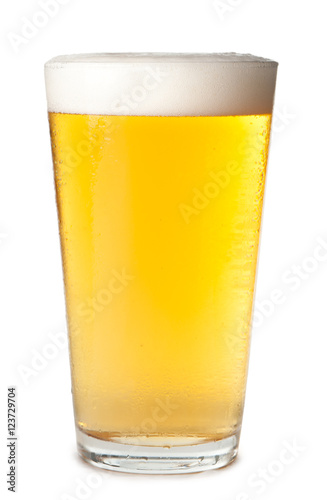 Photo Foam head pint of light lager pilsner beer isolated on white background for use