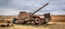 Broken Tank At The Desert Of Tunisia Africa