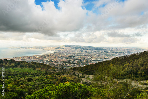 Spoed Foto op Canvas Mediterraans Europa View from Vesuvius volcano of Naples and the gulf, Italy
