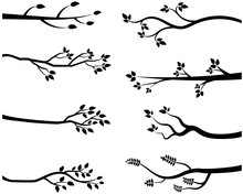 Cartoon Vector Black Tree Branch Silhouettes