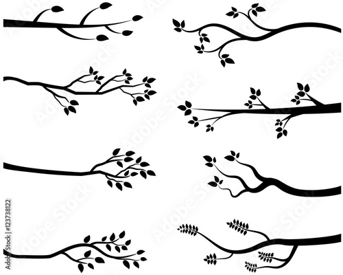 Cartoon vector black tree branch silhouettes Fototapete