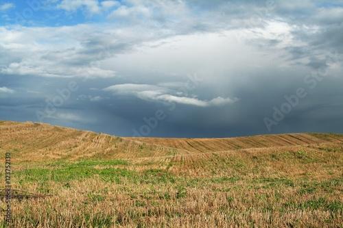 Tuinposter Purper dark, stormy sky and field 2
