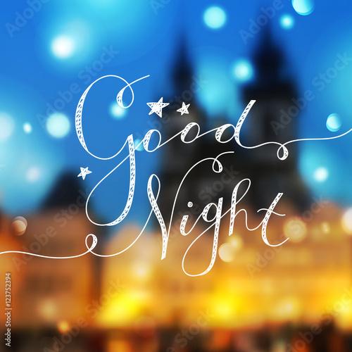 Plakat dobranoc napis, wektor odręczny tekst z gwiazdami