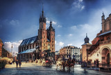 Fototapeta Miasto - Cracow / Krakow town hall in Poland, Europe