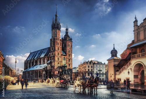 Tuinposter Krakau Cracow / Krakow town hall in Poland, Europe