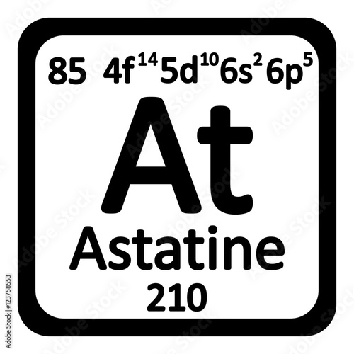 Periodic table element astatine icon. Wallpaper Mural