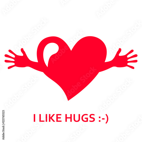 Heart With Hands I Love You I Like Hugs Greeting Card Vector