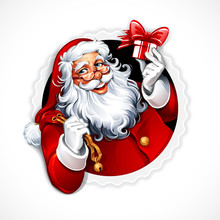 Cartoon Santa Claus Holding A Present. Vector Vintage Christmas Badge. Retro Illustration.