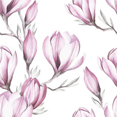 Fototapeta Style Seamless pattern with blooming magnolia twig. Watercolor illustration.