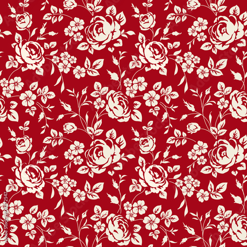 Seamless Pattern With Vintage Roses Floral Wallpaper White