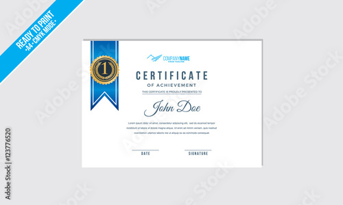 elegant blue ribbon certificate decorated template shapes vector