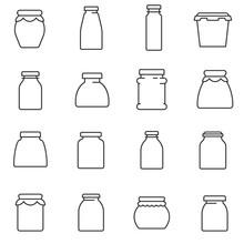 Jars, Line Icons Set. Glass Ja...