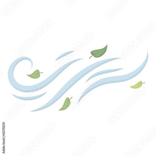 Carta da parati Windy weather icon in cartoon style isolated on white background