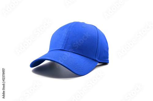 Fotografia  Closeup of the fashion blue cap isolated on white background.