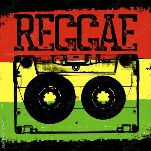 Fotografía Audiocassette and Reggae lettering. Vector reggae design with au