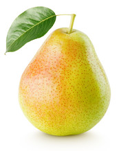 Red Yellow Pear Fruit With Green Leaf Isolated On White With Clipping Path