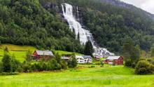 Tvindefossen Waterfall In Voss...