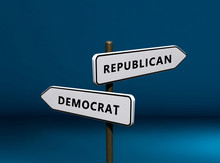 Republican Vs Democrat Signs Isolated On Blue Background